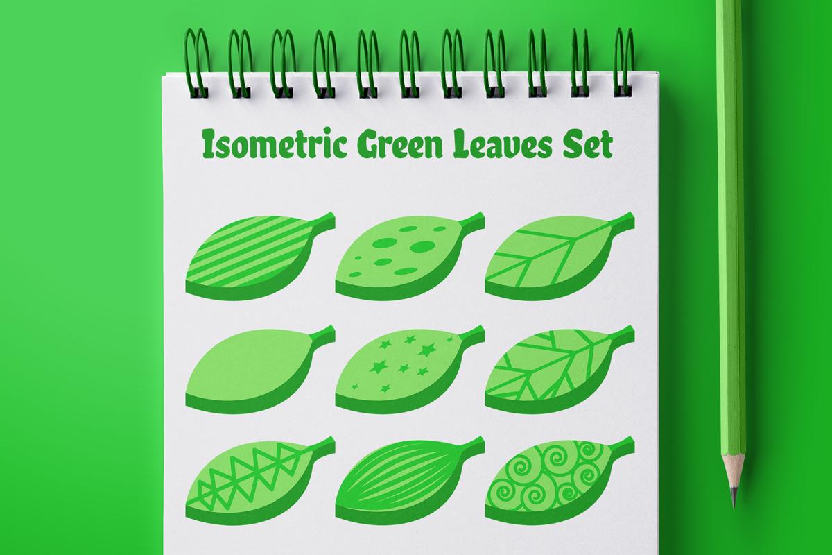 Isometric Green Leaves Set example image 1
