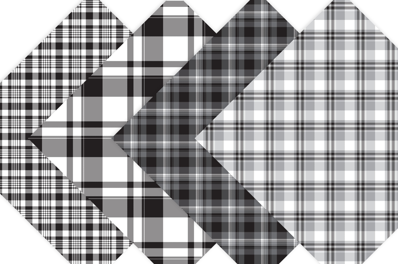 Black Plaid Digital Papers example image 2