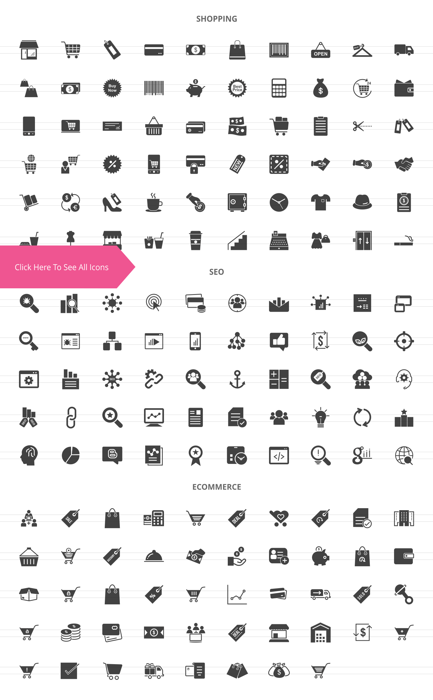 158 Shopping & E-Commerce Glyph Icons example image 2