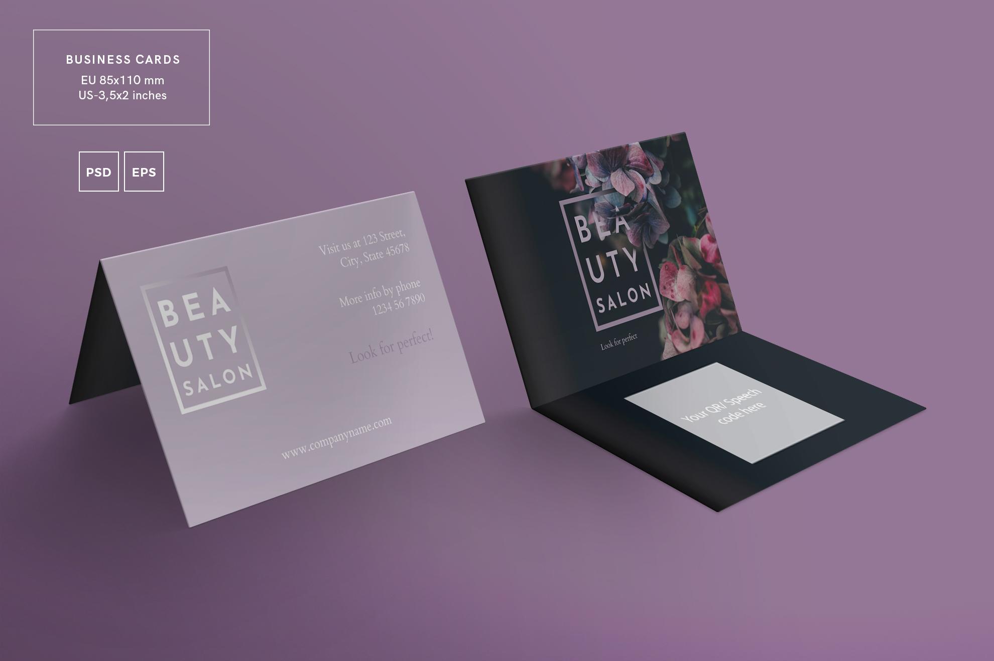 Beauty Salon Business Card Design Templates Kit example image 3