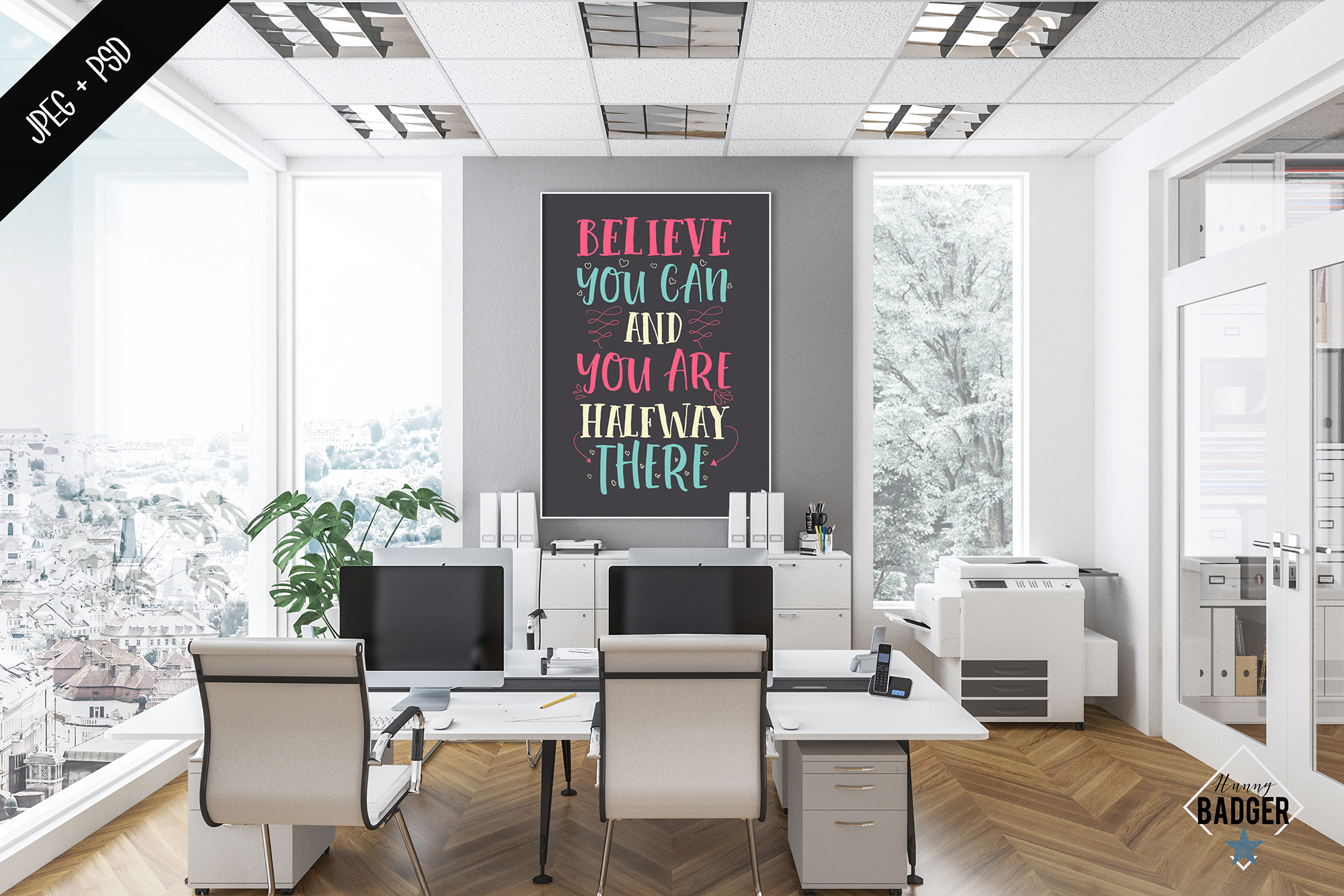 Office interior mockup - frame & wall mockup creator example image 3