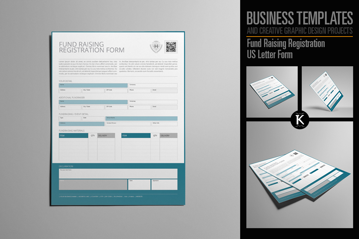 Fund Raising Registration US Letter Form example image 1