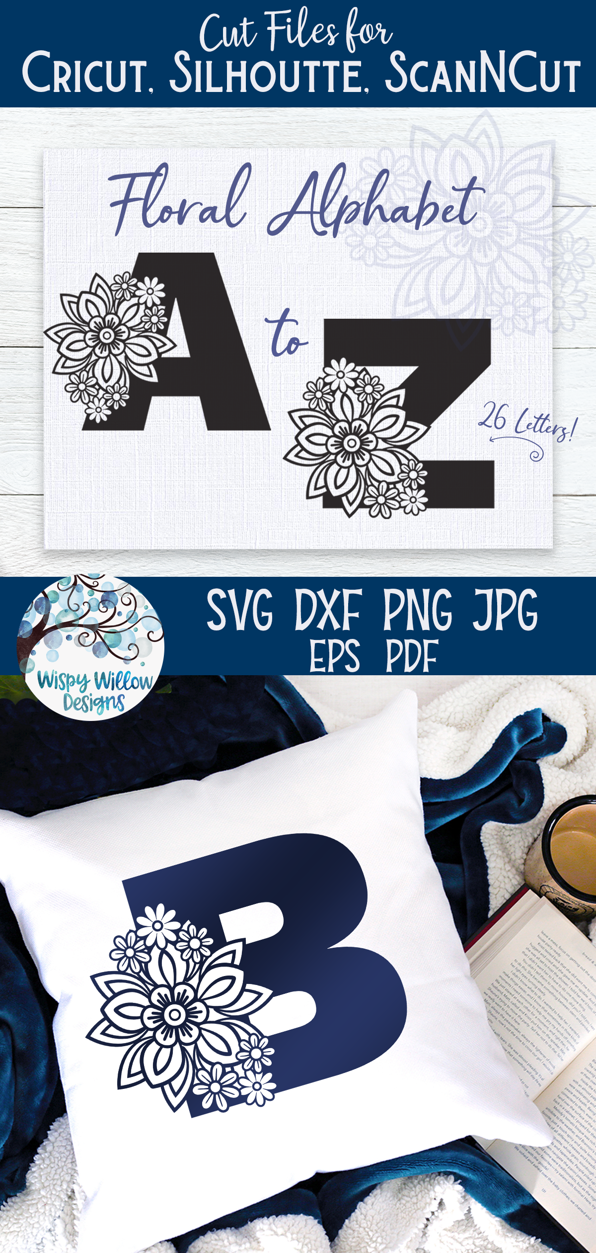 Floral Alphabet SVG Bundle | A to Z Floral Letters SVG example image 6