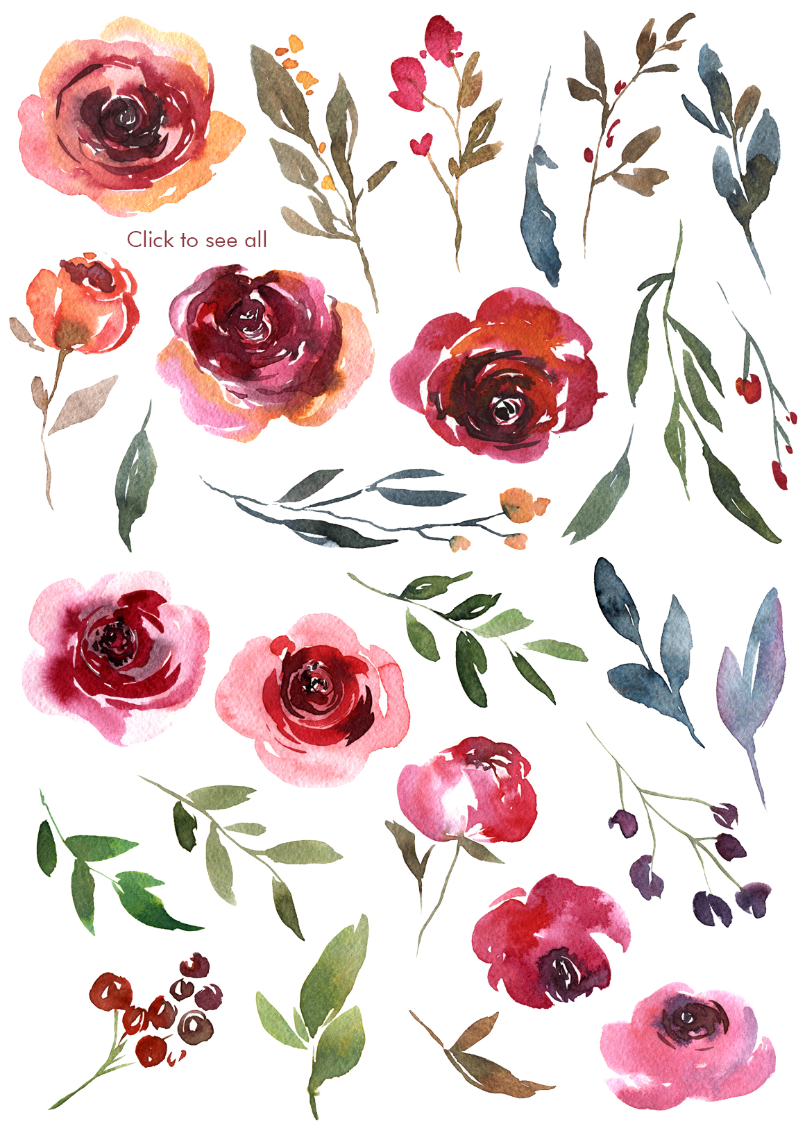 Vintage Watercolor Red Vinous Roses Collection example image 2