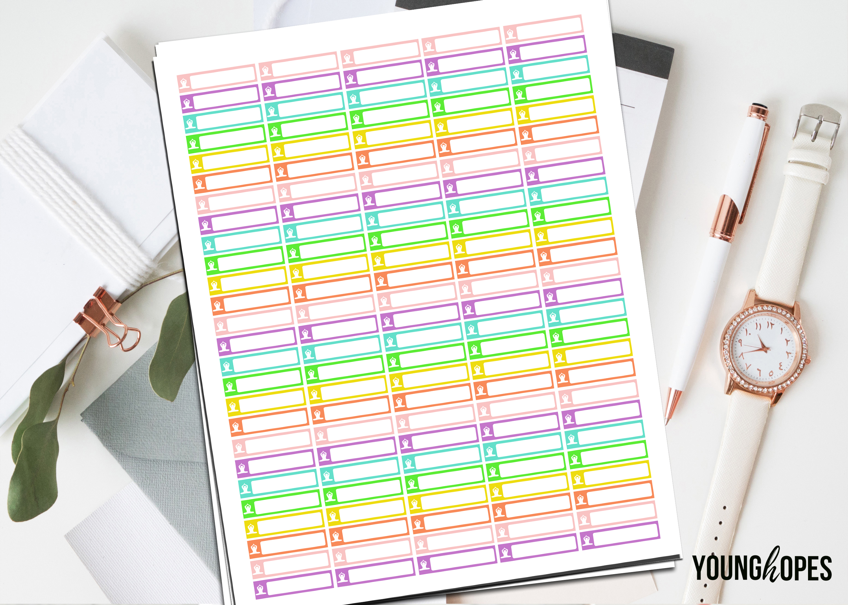 Yoga Planner Stickers Printable Stickers example image 1