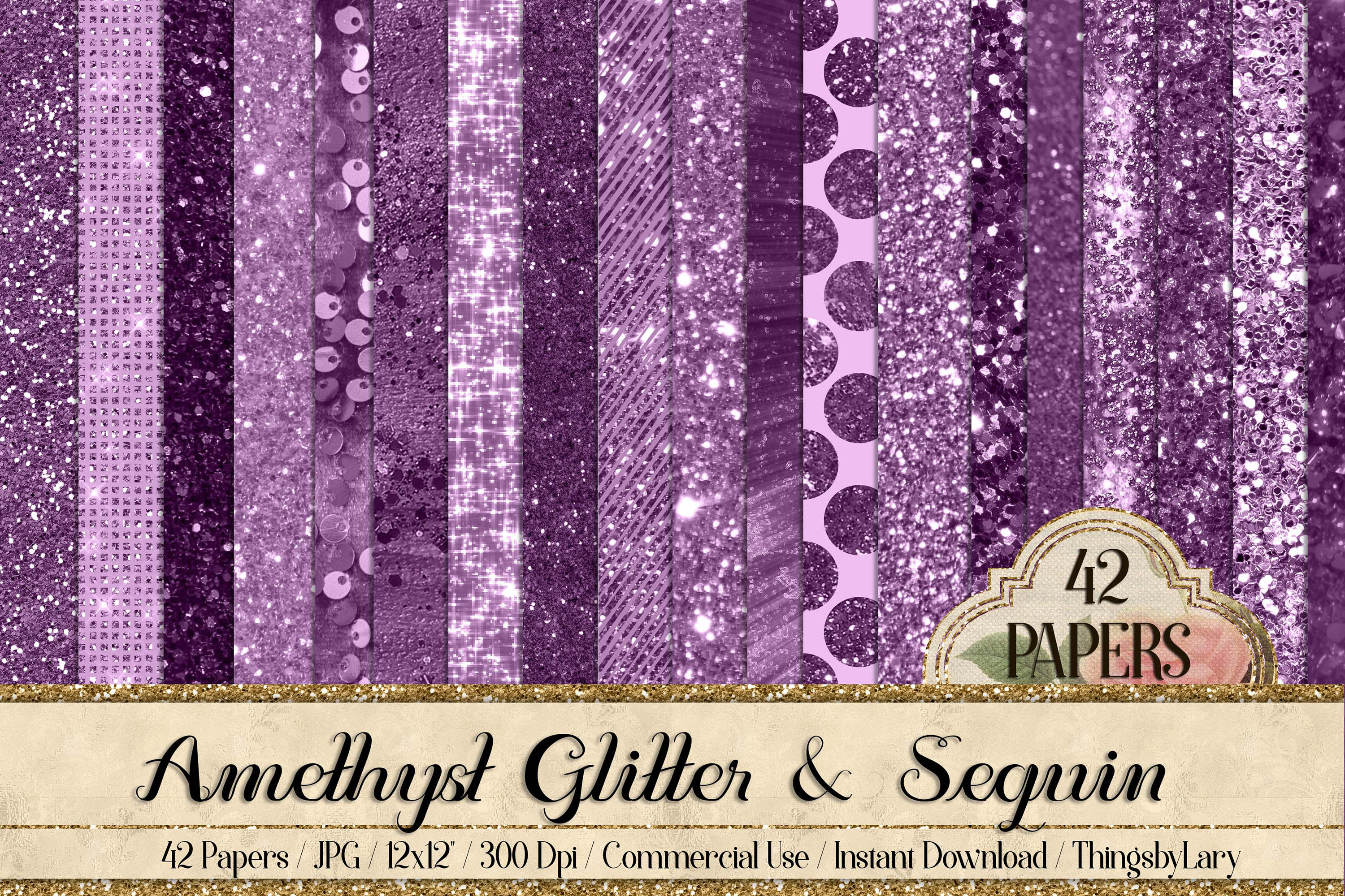 42 Amethyst Plum Purple Lilac Glitter Sequin Digital Papers example image 1