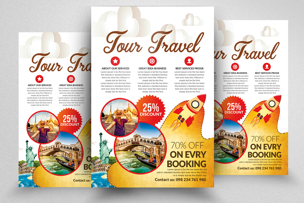 10 Tour Travel Agency Flyer Template Bundle example image 8