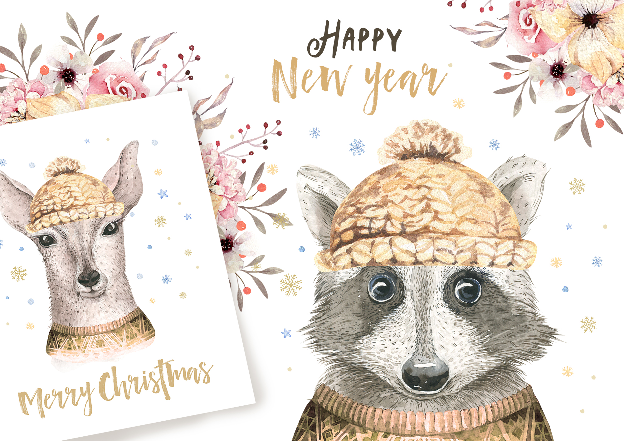 Christmas raccoon and deer animals example image 8