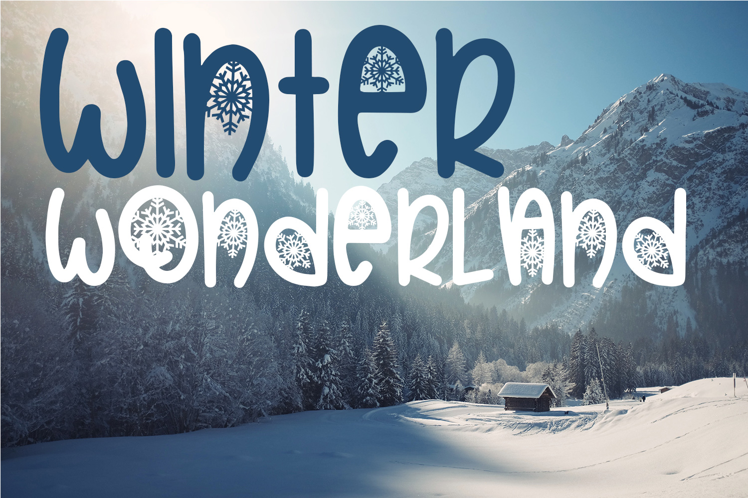 Christmas Snowflakes Font example image 4