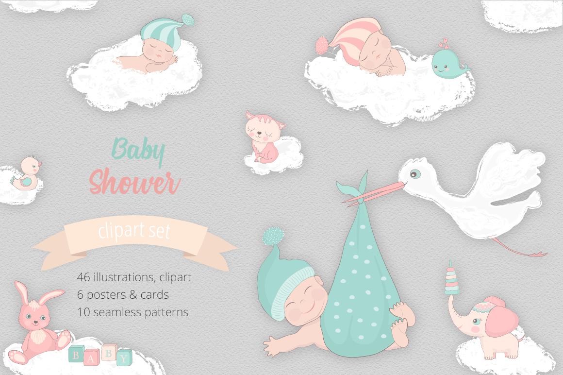 Baby Shower Illustration Set example image 1