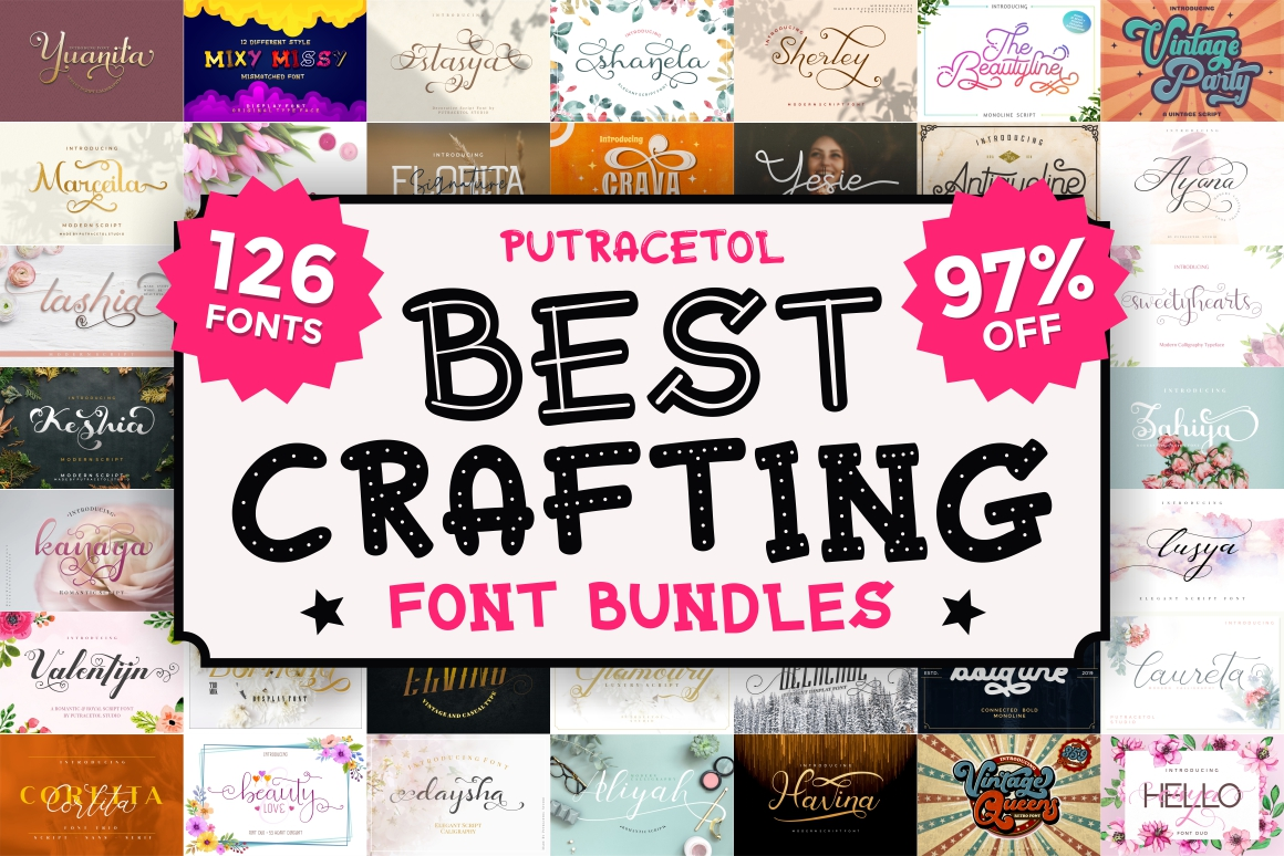 Best Crafting Font Bundles! 126 Fonts ! example image 1