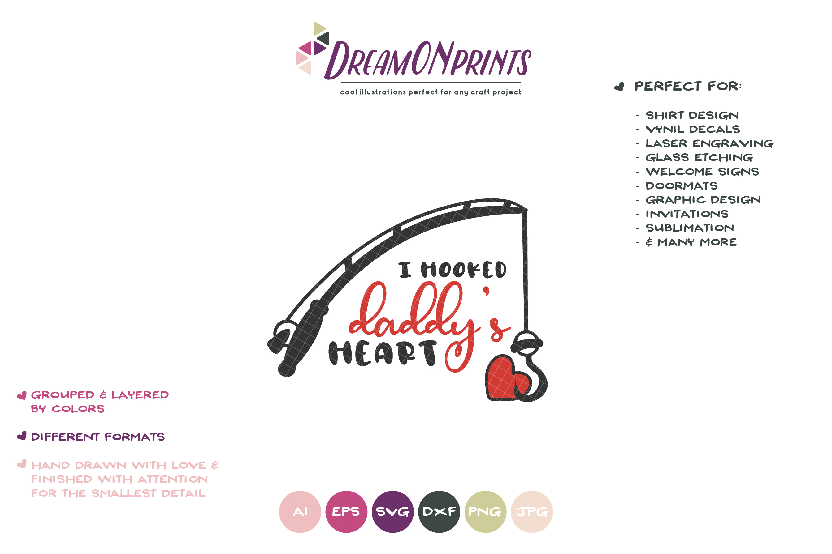 Father's Day SVG | I Hooked Daddy's Heart SVG example image 2