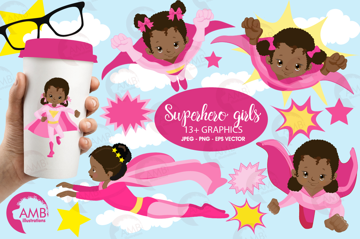 Superhero girls clipart, Dark skin tone, African American supergirls graphics, illustrations AMB-1801 example image 1