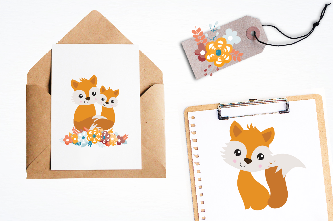 Spring Foxes graphics and illustrations example image 4
