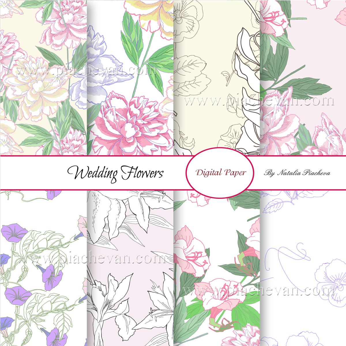 Wedding Flowers.Digital Paper example image 4