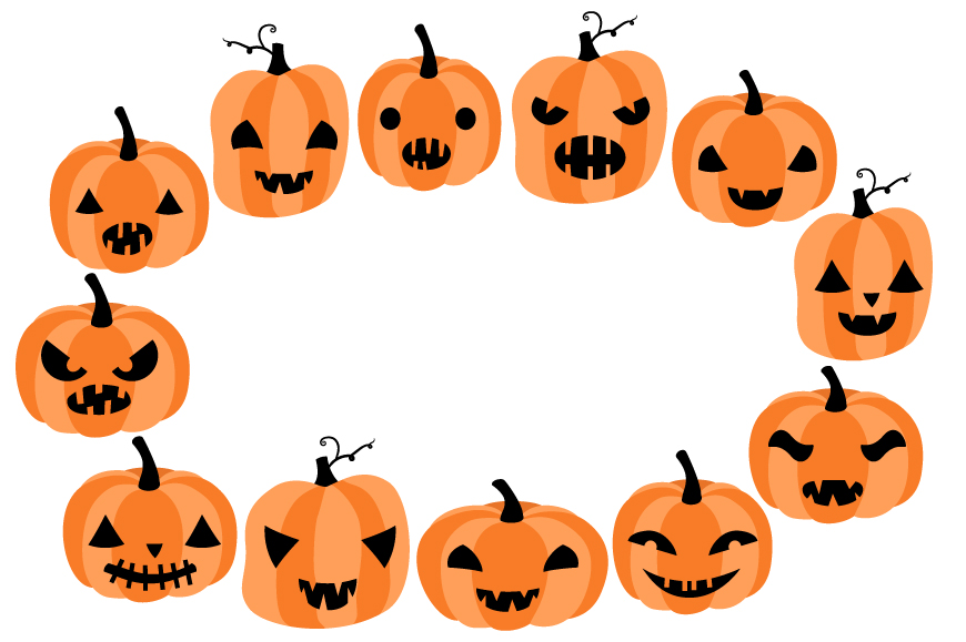 Cute Halloween pumpkin clipart set with eyes and mouths