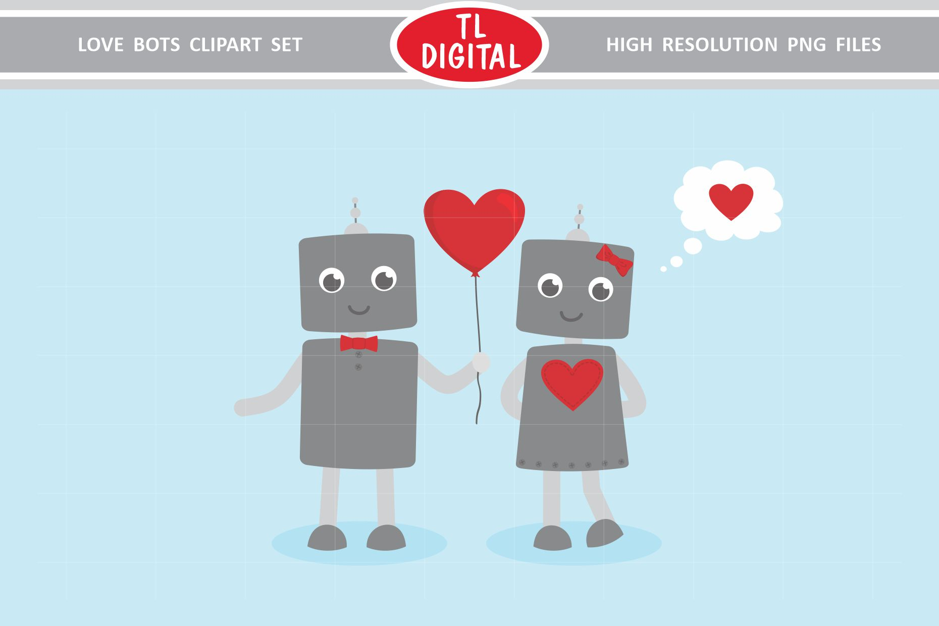 Love Robots Clipart Set - 13 Valentines PNG Graphics example image 3