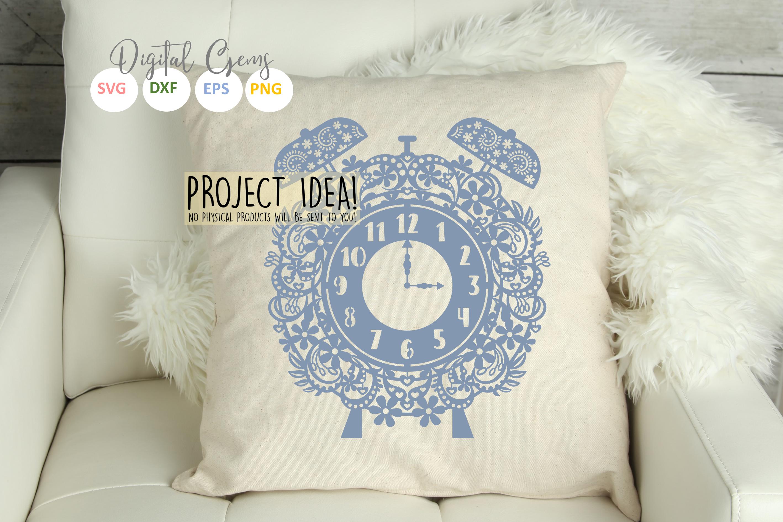 Alarm clock papercut design SVG / EPS / DXF / PNG Files example image 5
