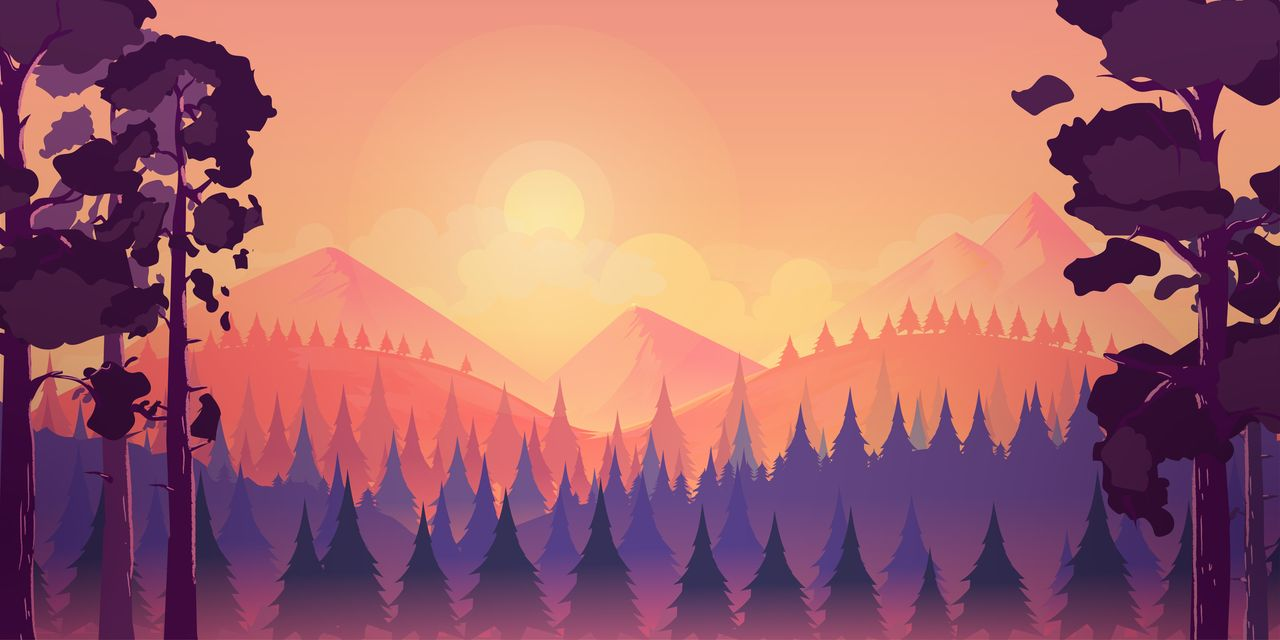 Sunset landscape with mountain and forest example image 2