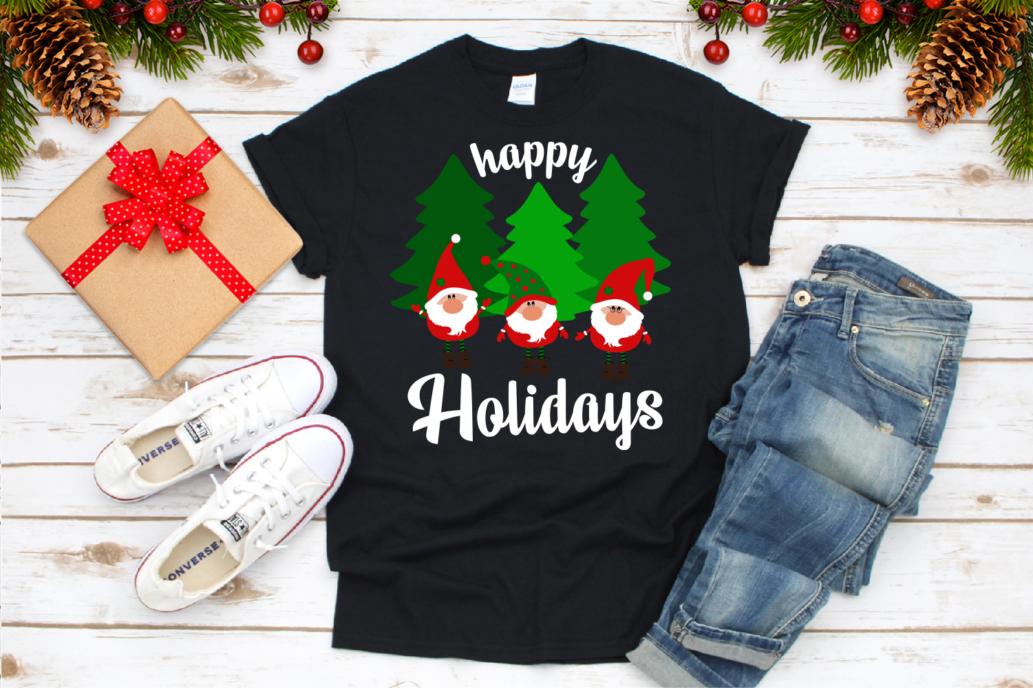 Happy Holidays Svg, Gnome Svg example image 3