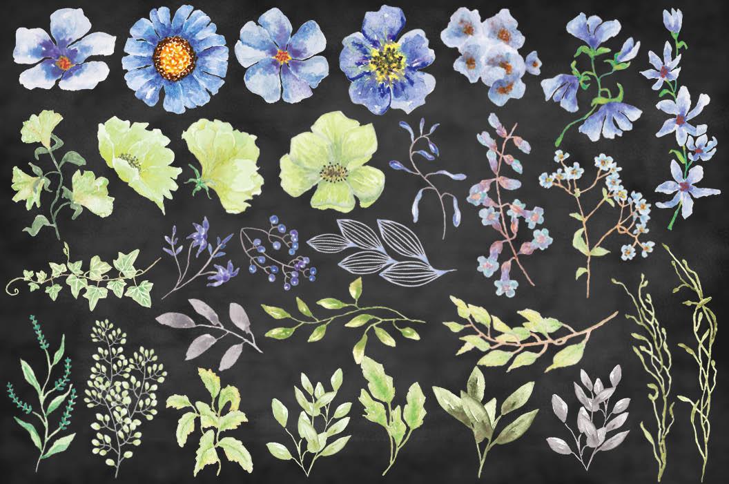 'Moody Blue' watercolor clip art bundle example image 8