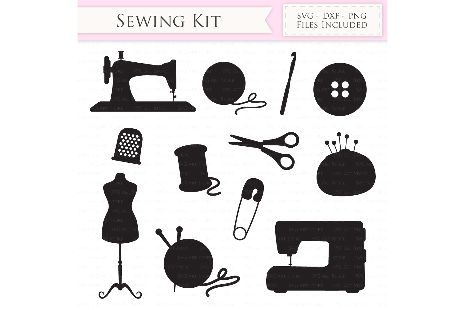 Sewing Machine SVG Knitting svg cutting files Cricut and Silhouette SVG dxf png jpg included. Crochet cutting files stitching svg example image 1