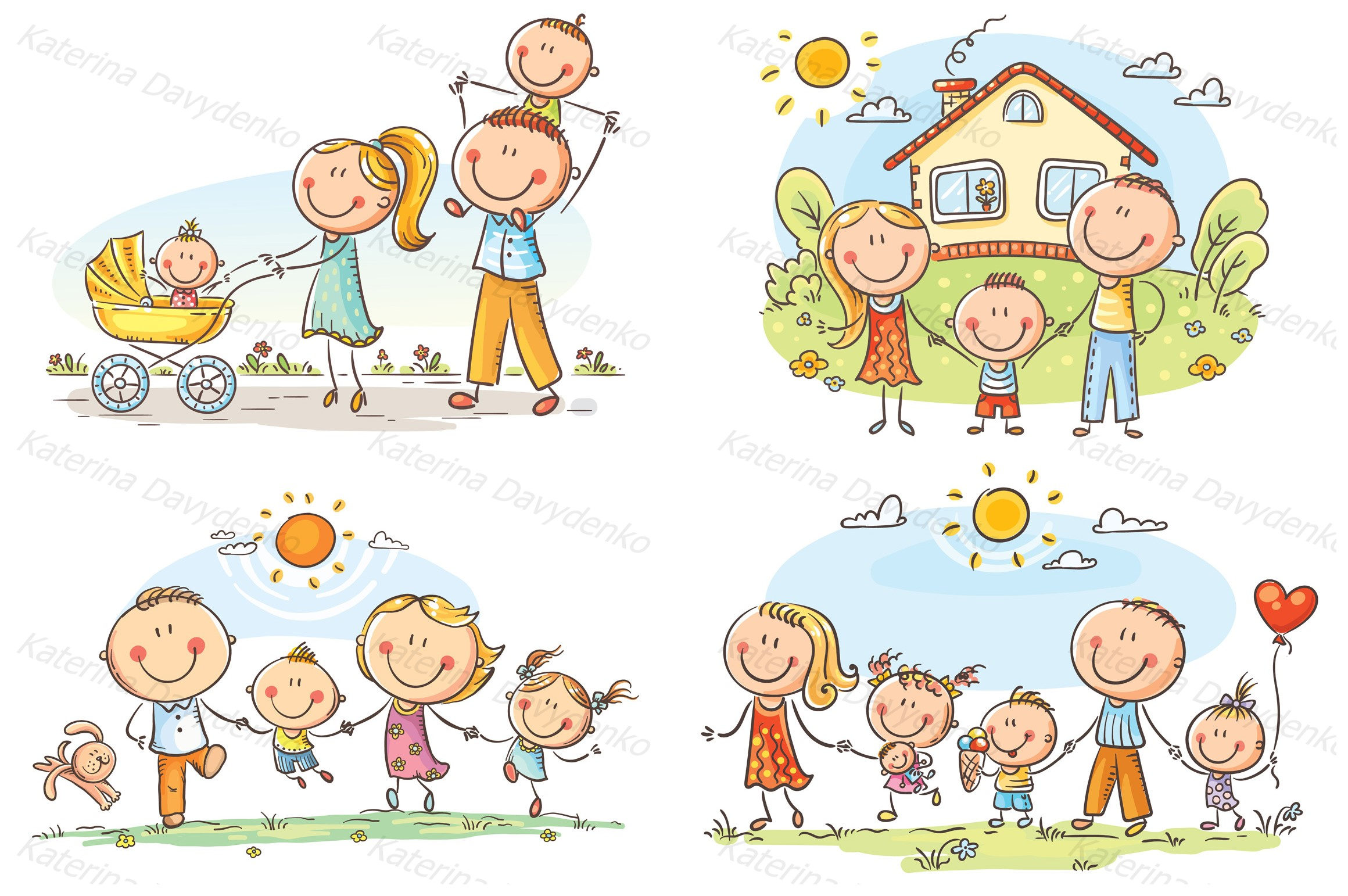 Happy doodle families bundle, vector example image 2