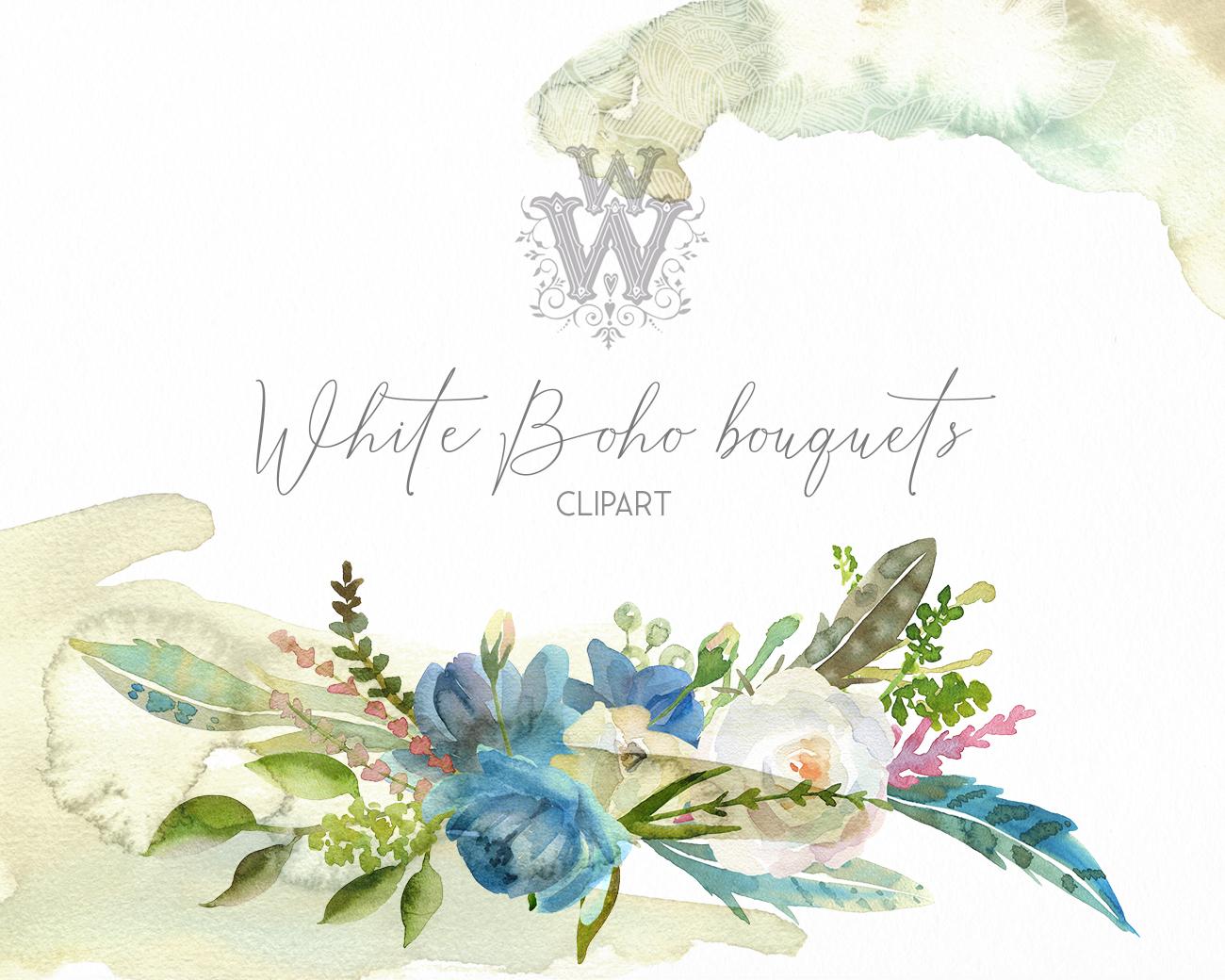 Watercolor floral wedding bouquets, boho compositios wreath example image 5