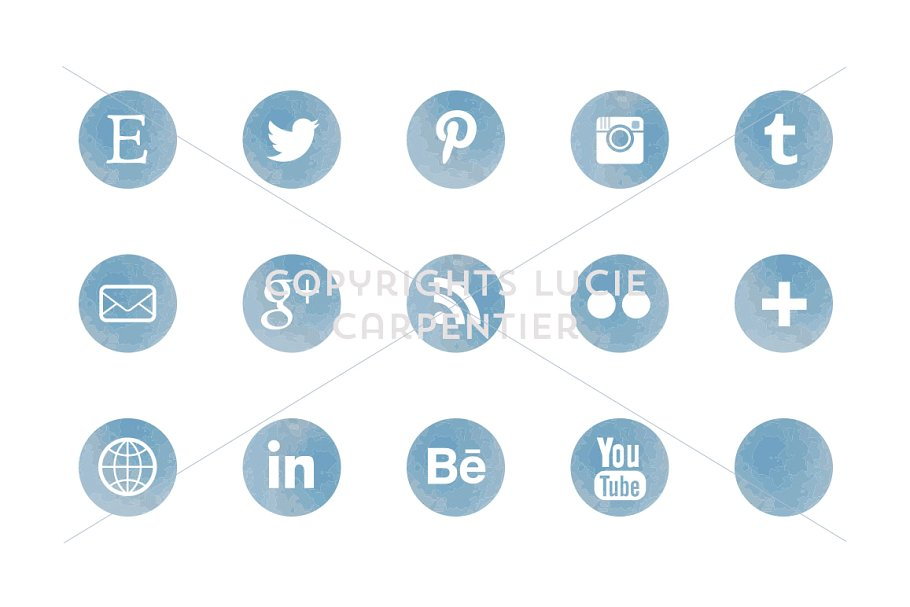 Watercolour social media icons example image 2