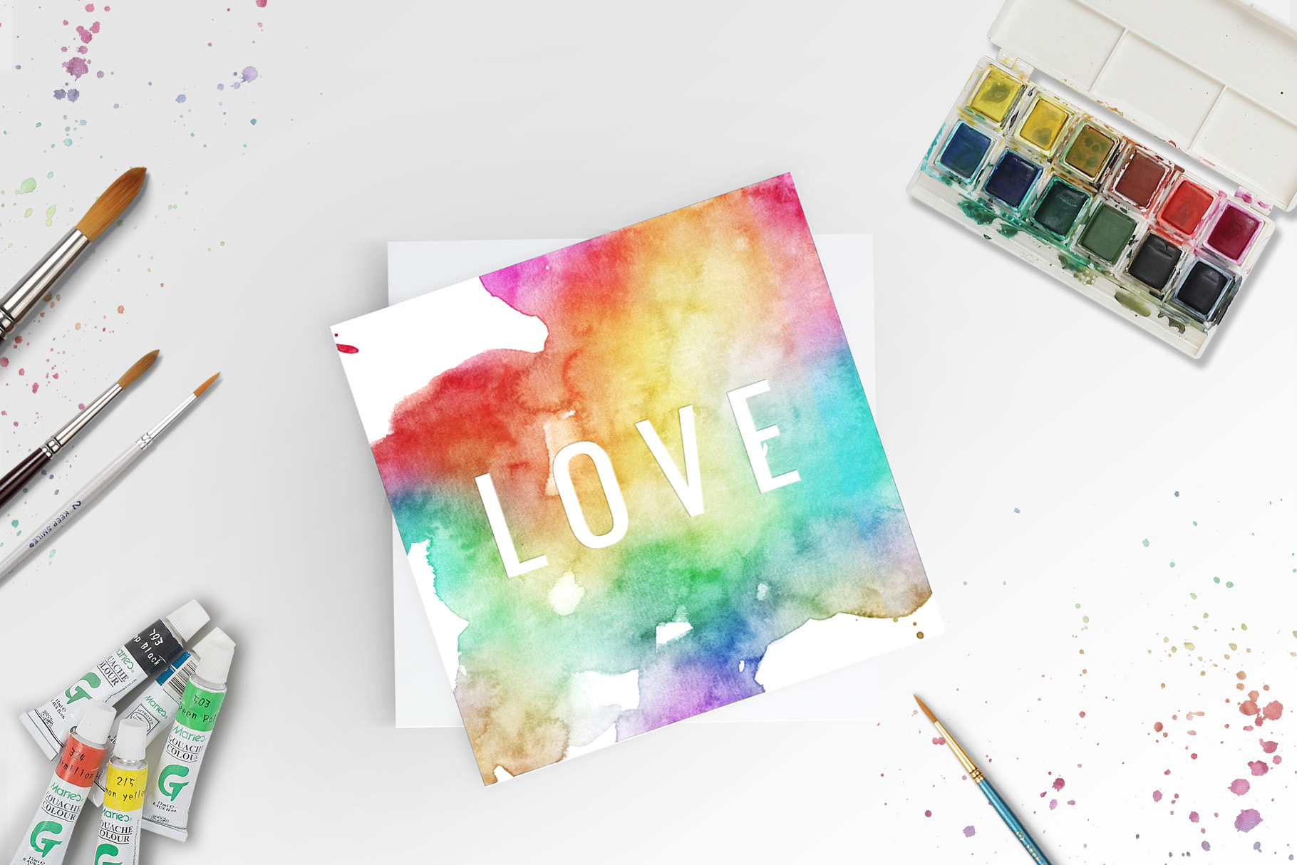 10 Huge Seamless Rainbow Watercolor Textures example image 8