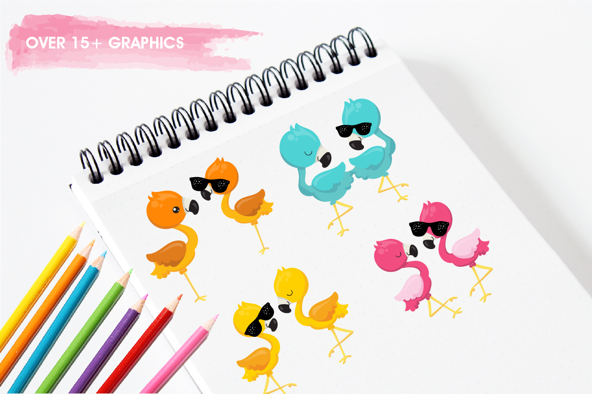 Summer Flamingos graphics and illustrations example image 3