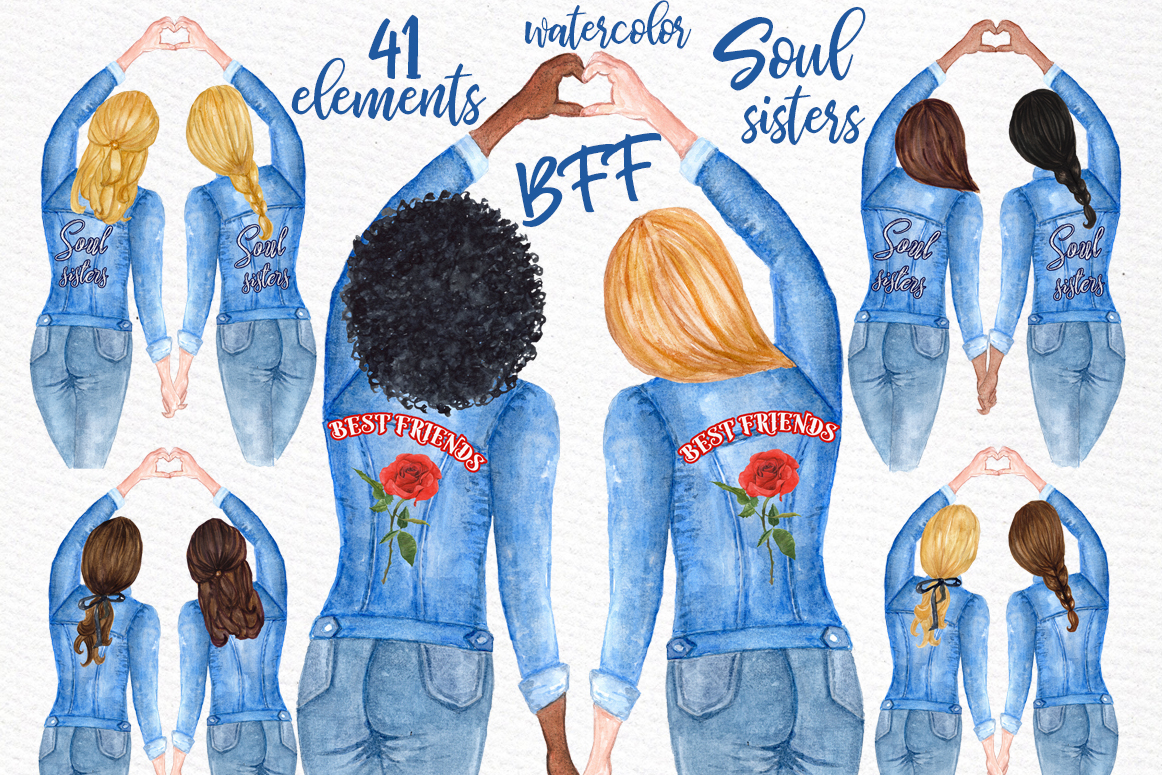 Best Friends Soul Sisters Watercolor Clipart example image 1
