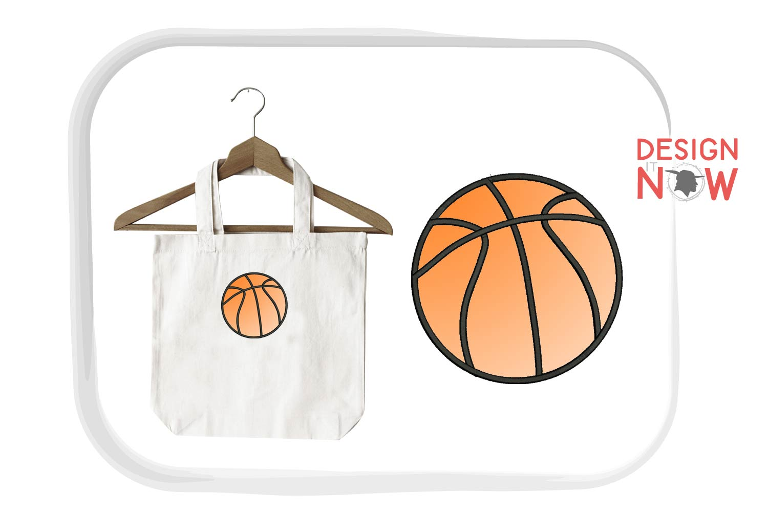 Basketball Applique Design, Sport Embroidery, Ball Applique example image 3
