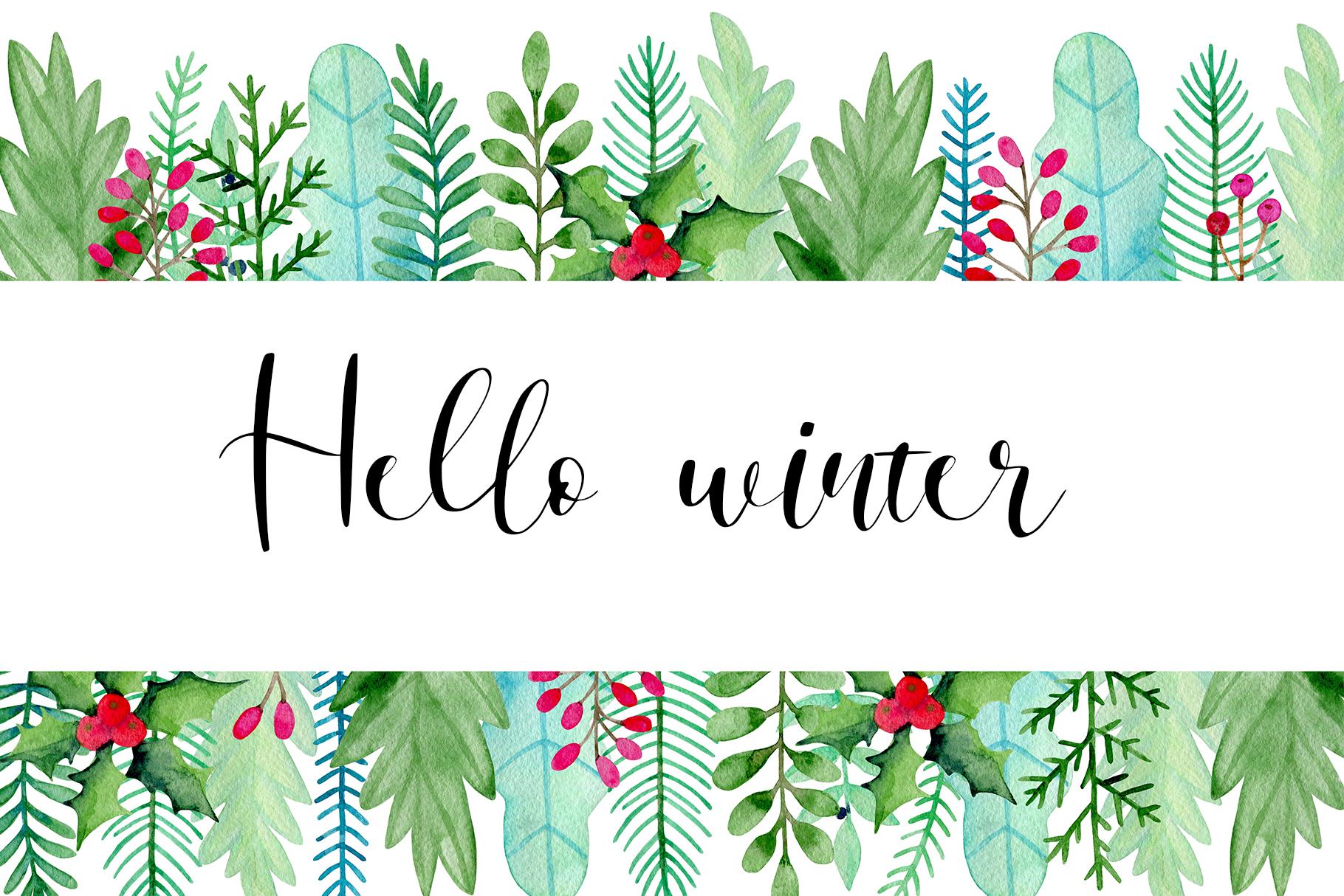 Winter Watercolor Design Kit example image 7