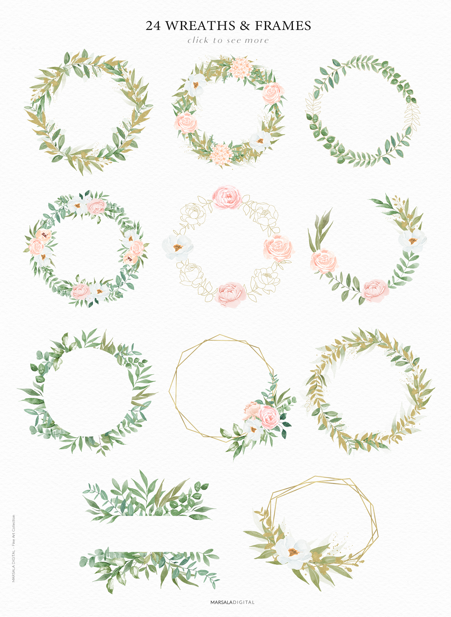 Watercolor Flowers Watercolor Florals Peach & White example image 8