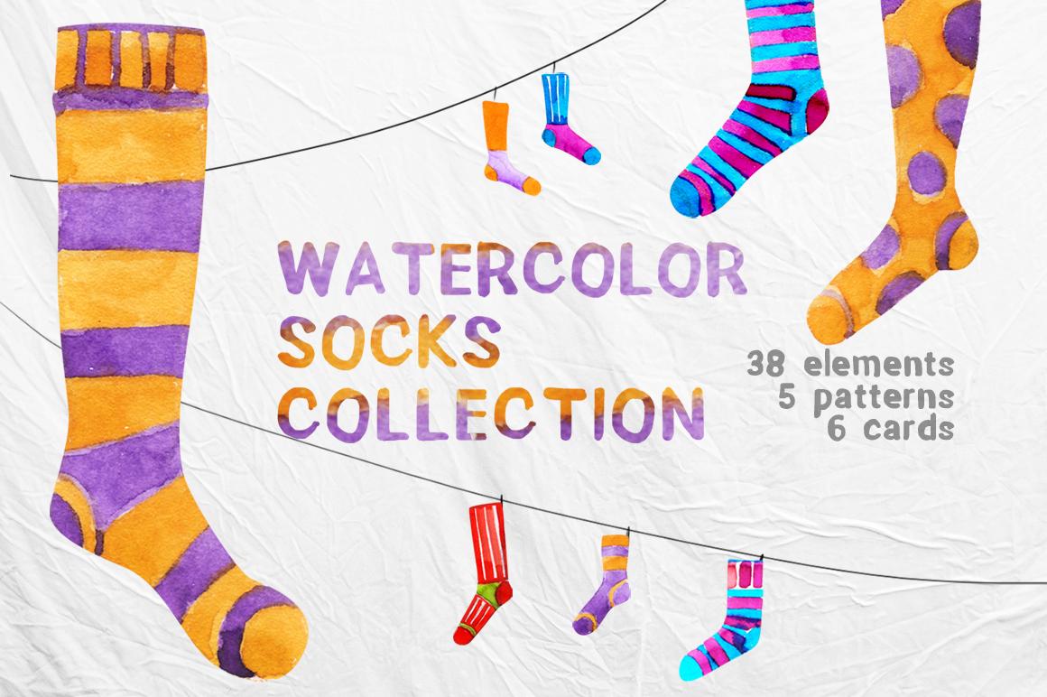 Watercolor socks set example image 1