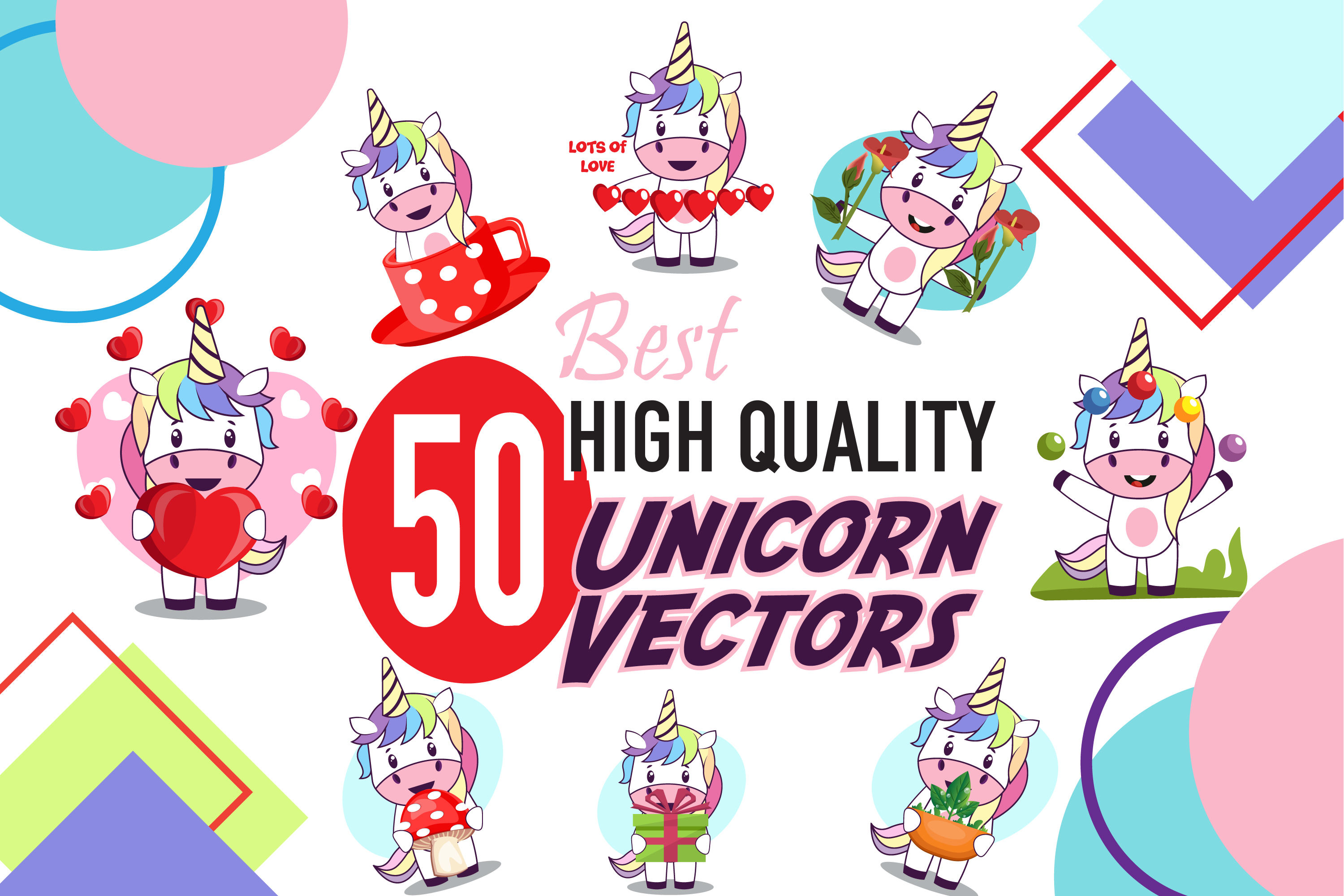 50x Unicorn Character Vector Illustration Pack example image 1