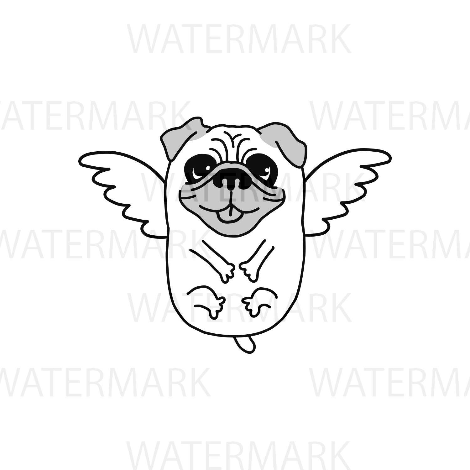 Flying Pug Dog with bird wings - SVG/JPG/PNG Hand Drawing example image 2
