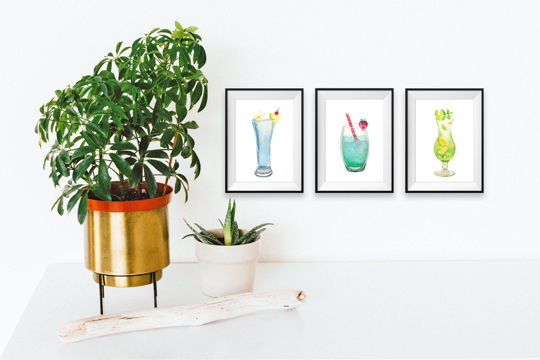 Island Cocktails Watercolor Clip Art example image 3