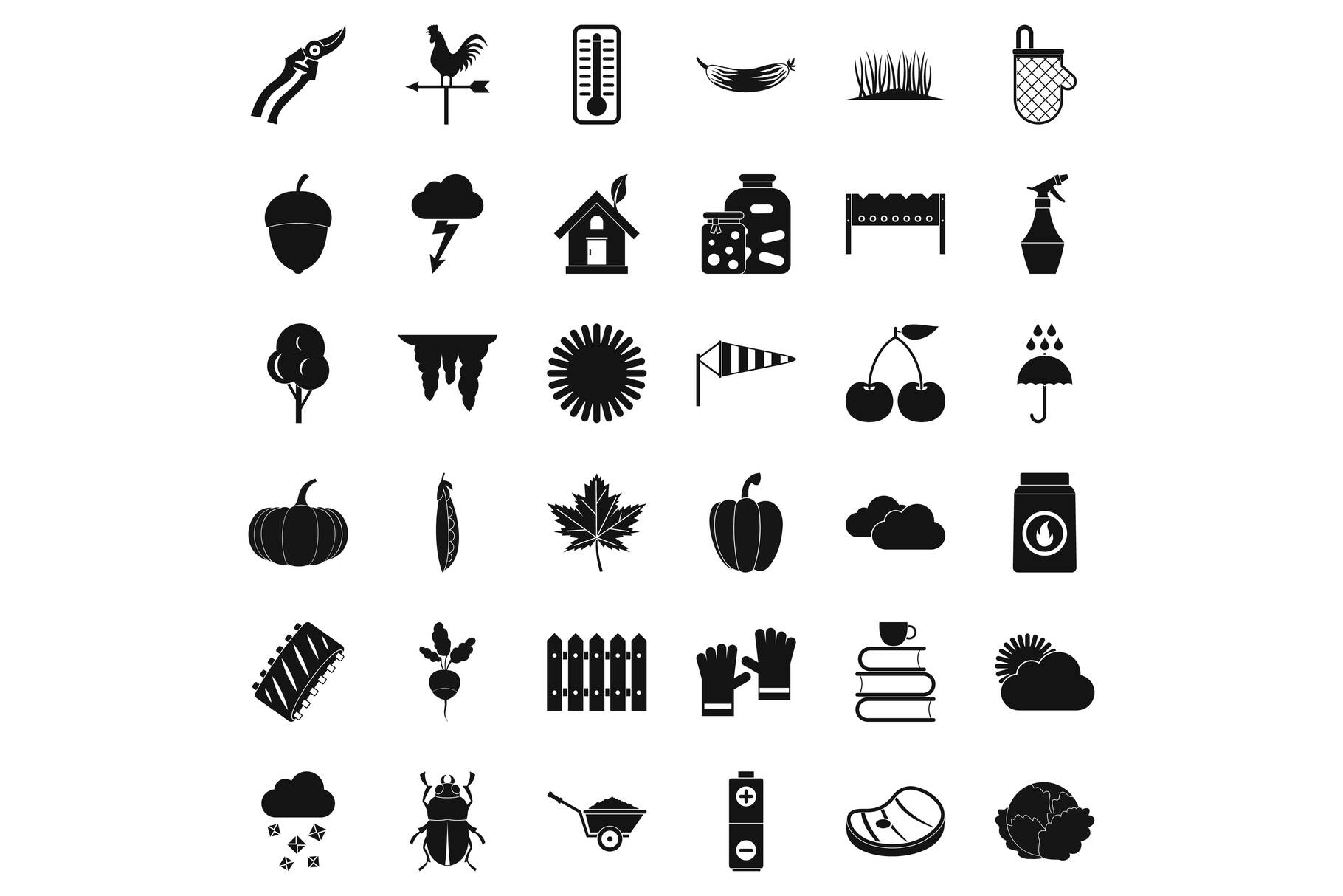 Diet vegetable icons set, simple style example image 1
