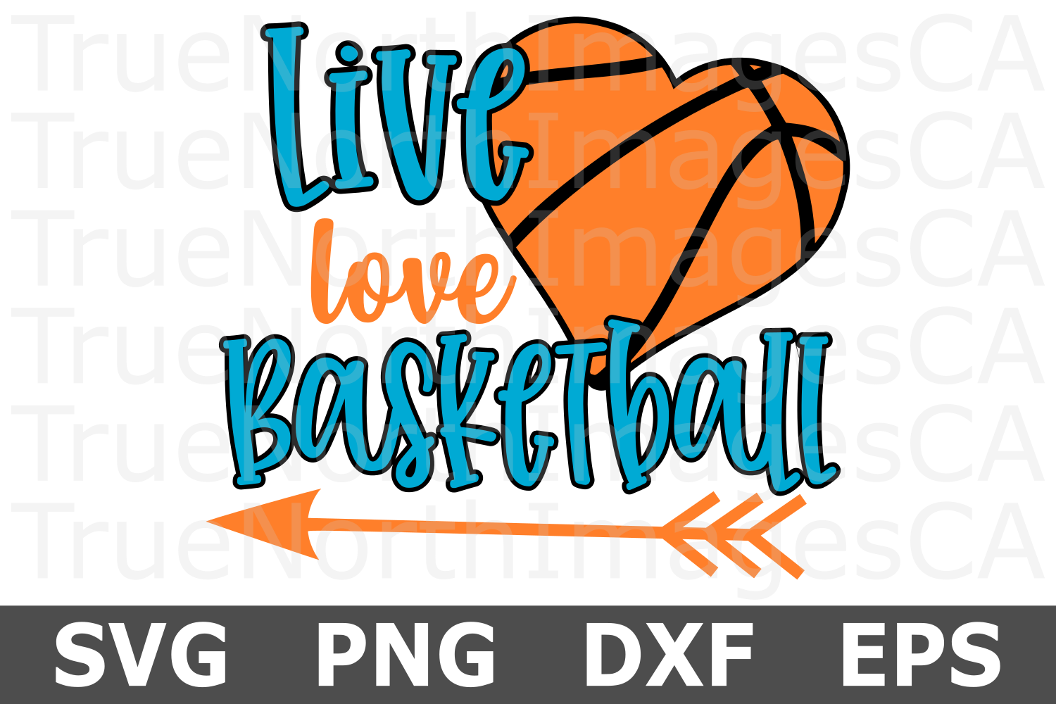 Live Love Basketball Heart - A Sports SVG Cut File example image 2