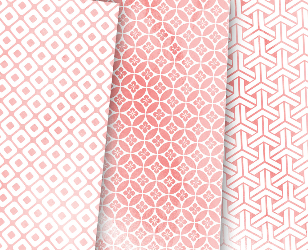 Coral Pink Digital Paper Japanese Background Patterns example image 3