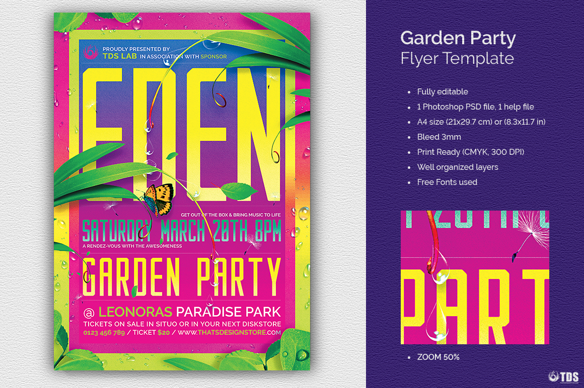 Garden Party Flyer Template example image 1