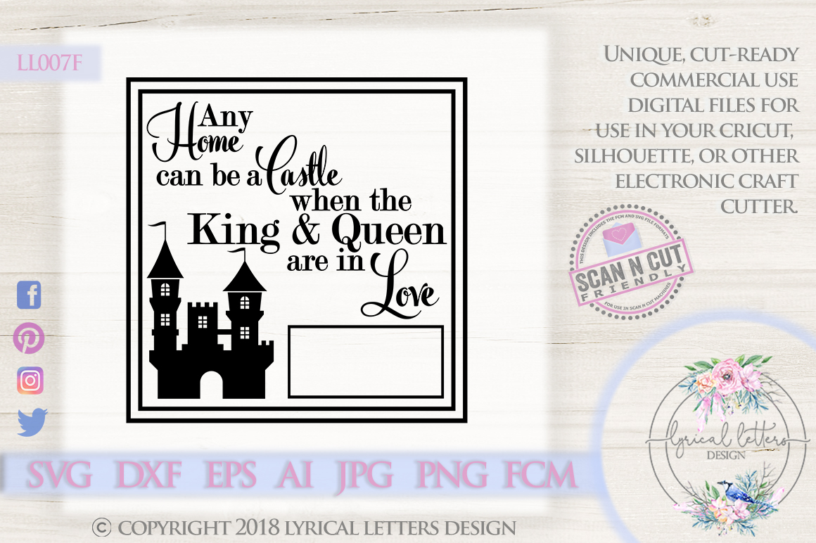 Any Home Can Be a Castle Wedding SVG DXF LL007F example image 1
