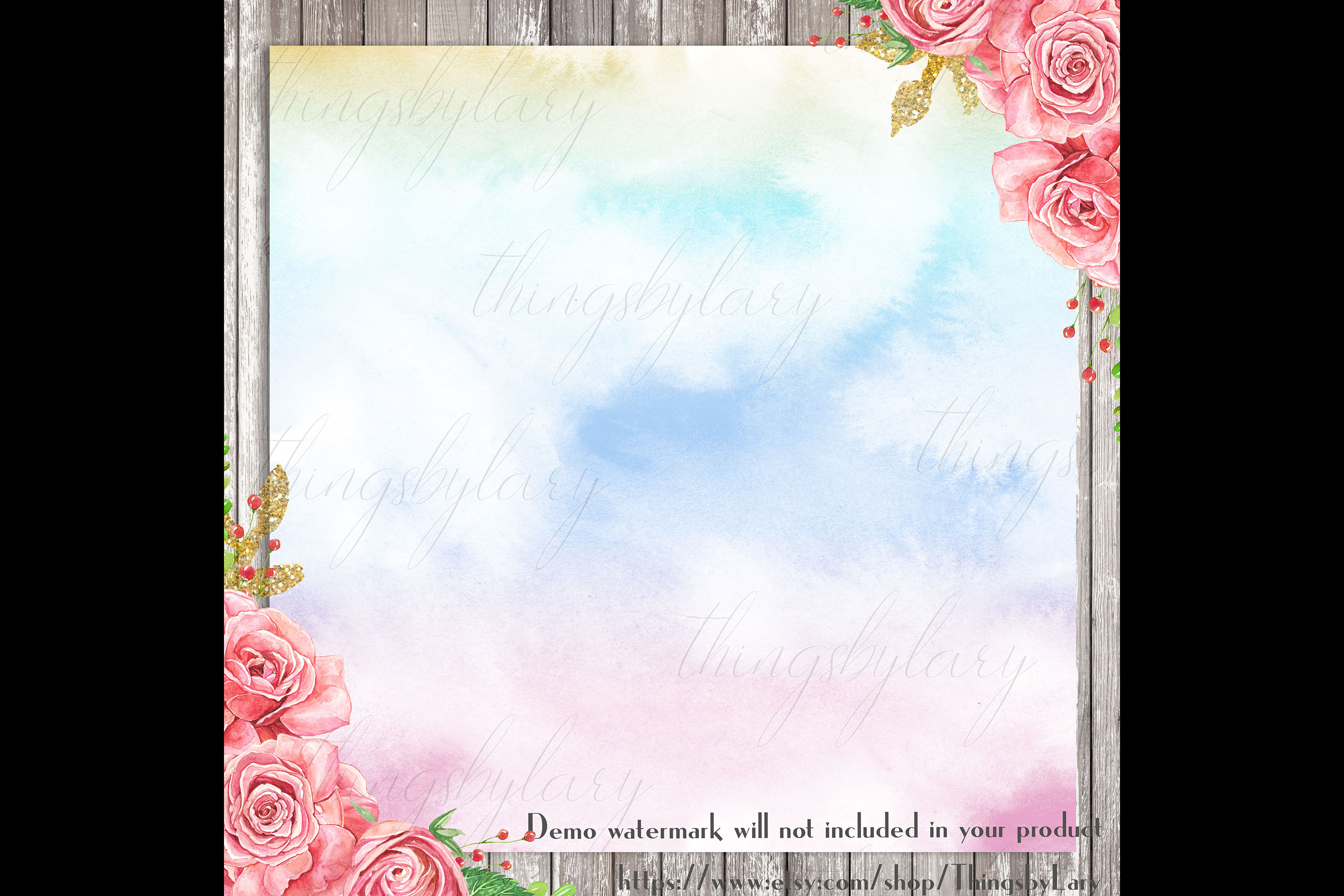 30 Watercolor Fairy Tale Cloudy Sky Baby Shower Paper Images example image 2
