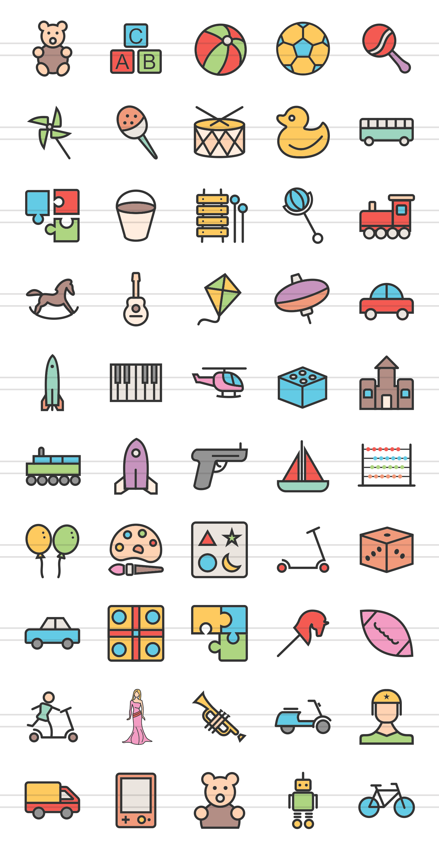 50 Toy Set Linear Multicolor Icons example image 2