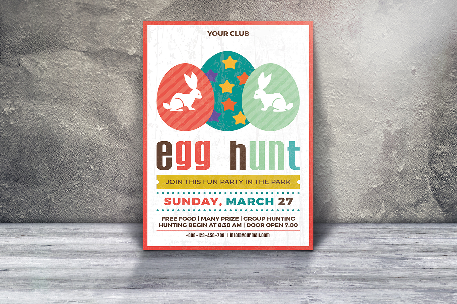 Easter Egg Hunt Party Flyer/Invitation Template  example image 3