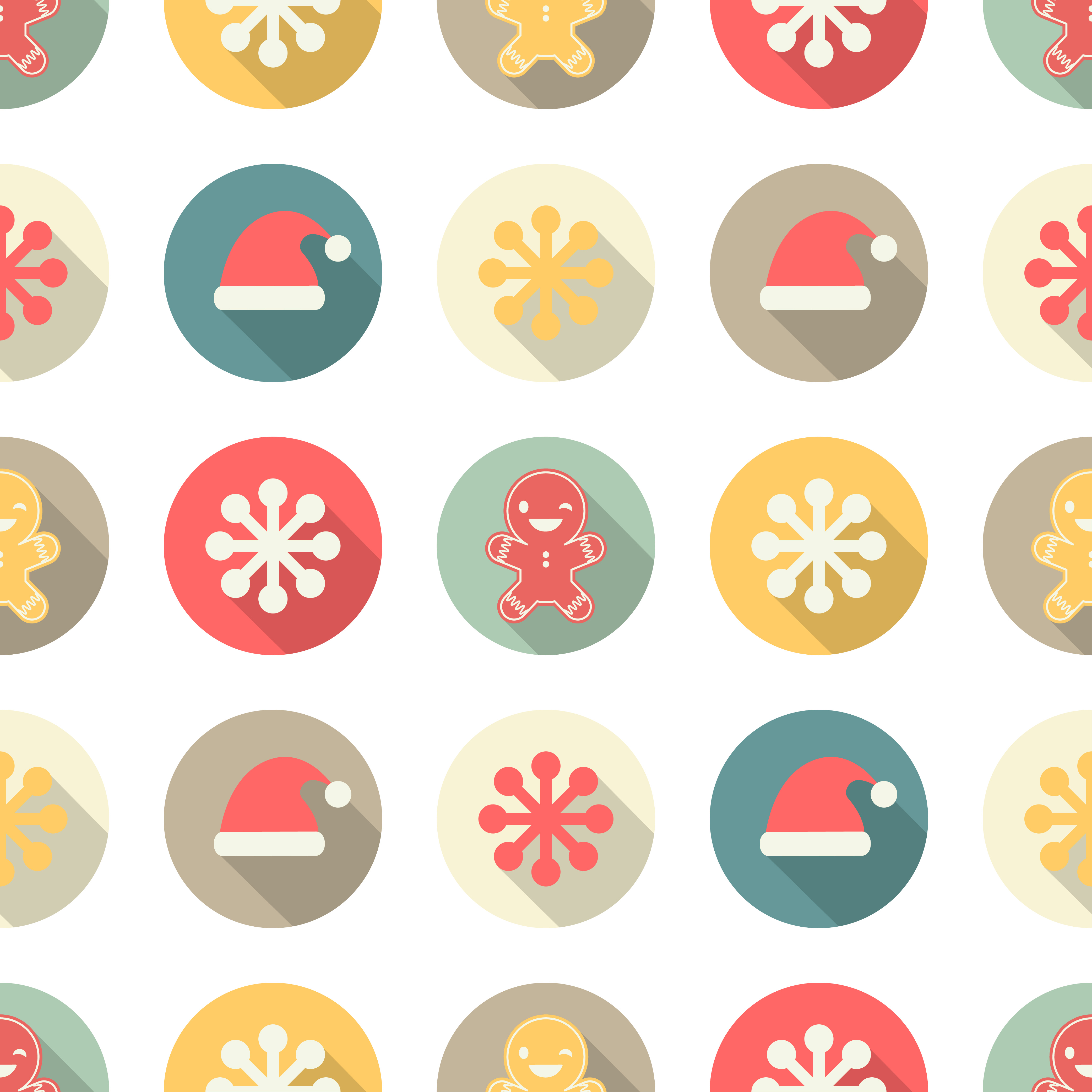 Seamless pattern with Christmas icons on white background. Winter holiday vintage pattern. example image 1