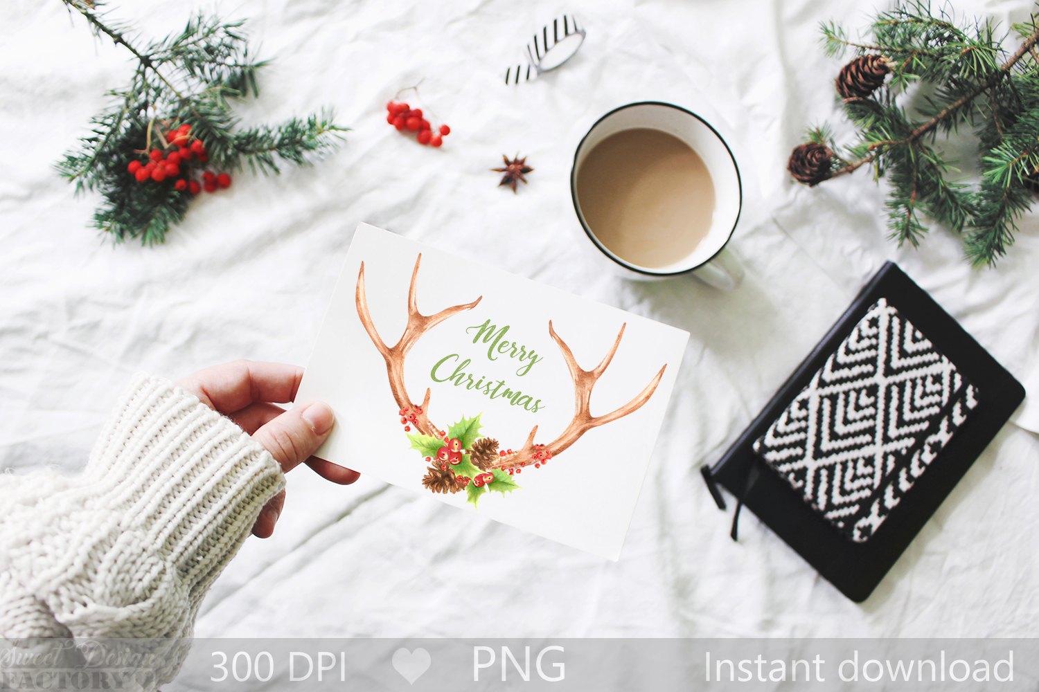 Watercolor Antlers clipart , christmas sublimation design example image 2