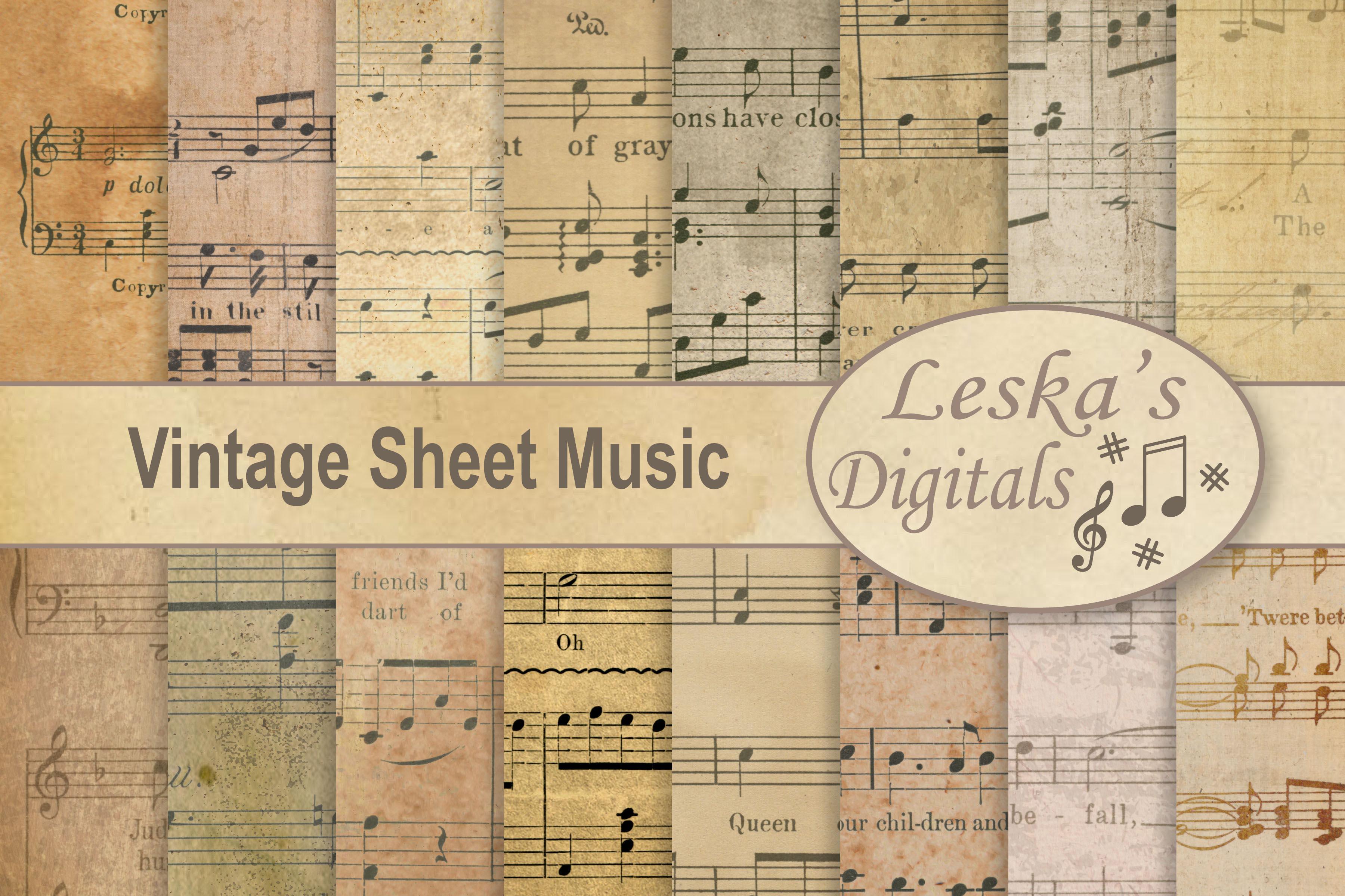 Vintage Sheet Music Digital Paper